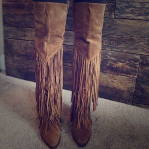 Ash over the knee fringe boots